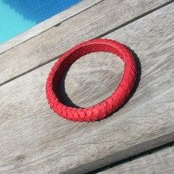 Браслет из натуральной кожи питона тонкий круглый красный