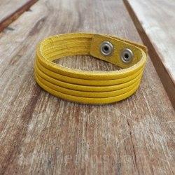 Браслет тонкий кожаный желтый