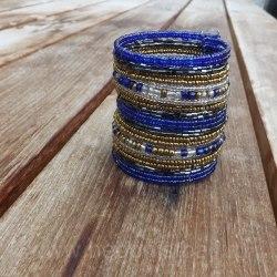 Браслет из бисера широкий сине-золотой