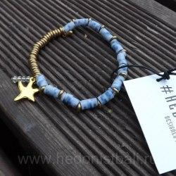 Браслет с морской звездой светло-бирюзовый