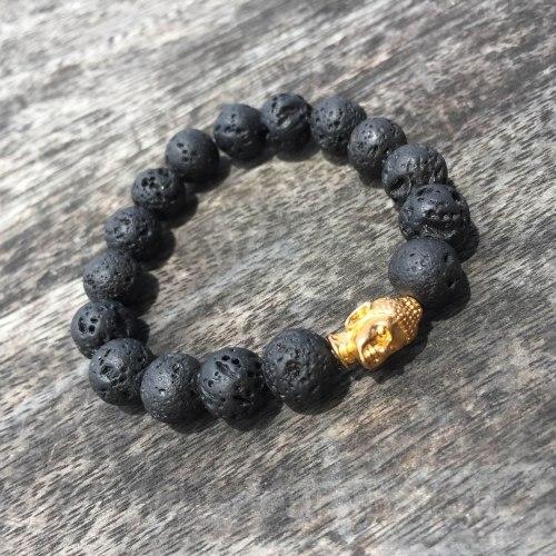 Браслет из лавового камня с Буддой золотого цвета