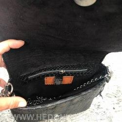 Сумка crossbody из натуральной кожи питона TASSEL SQAURE черная