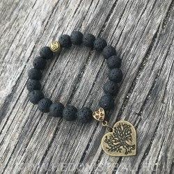 """Браслет из лавового камня с подвеской """"древо жизни"""" и символом инь янь"""
