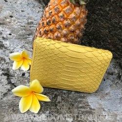 Кошелек из натуральной кожи питона желтый размер XS