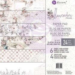 Набор скрапбумаги, 6 двусторонних листов с золотым фольгированием, Prima Marketing Ink Lavender Frost