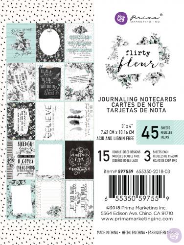 Набор карточек для журналинга, 15 штук, 3х4 Prima Marketing Ink из коллекции Flirty Fleur