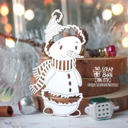 Чипборд снеговик в шарфе ScrapBox