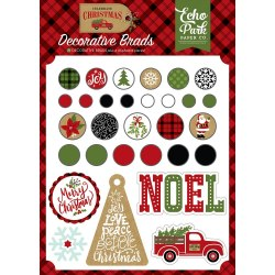 Набор брадс Celebrate Christmas Decorative Brads 25 штук Echo Park