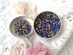 Кристаллы 3 мм, с фольгированной основой, цвет синий