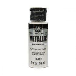 Краска акриловая Pearl White, FolkArt Metallic Acrylic
