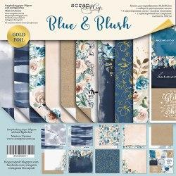 Набор двусторонней бумаги с золотым тиснением 30х30см Scrapmir Blue & Blush