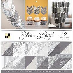 Набор бумаги Silver Leaf 30 х 30, 18 двухсторонних листов, 6 из которых с серебрянным фольгированием DCWV