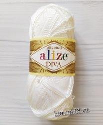 Пряжа Ализе Дива (Alize Diva) 1055 сахарно-белый