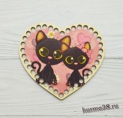 """Цветное донышко/крышка для корзин сердце """"Чёрные котята"""" 17*14 см."""