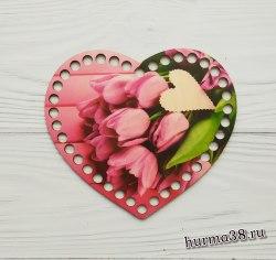 """Цветное донышко/крышка для корзин сердце """"Тюльпаны"""" 17*14 см."""