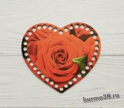 """Цветное донышко/крышка для корзин сердце """"Красные розы"""" 17*14 см."""