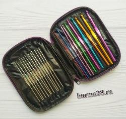 Набор алюминиевых крючков для вязания в сумочке (22шт) №0,6-6,5