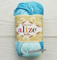Пряжа Ализе Белла Батик (Alize Bella Batik) 2130 белый/голубой
