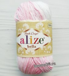 Пряжа Ализе Белла Батик (Alize Bella Batik) 2126 белый/розовый