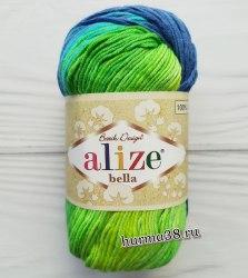 Пряжа Ализе Белла Батик (Alize Bella Batik) 4150 синий/салат/бирюза