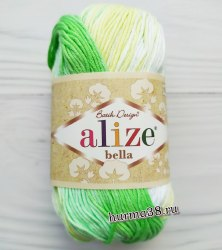 Пряжа Ализе Белла Батик (Alize Bella Batik) 2131 белый/салат/лимонный