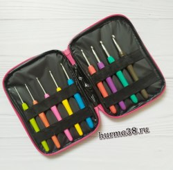 Набор крючков с каучуковой ручкой в сумочке (9шт) №2-6