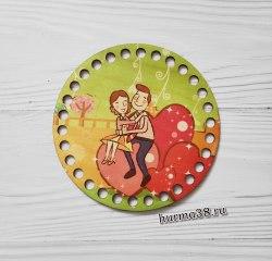 """Цветное донышко/крышка для корзин круг """"Между нами любовь"""" 15 см."""