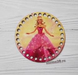 """Цветное донышко/крышка для корзин круг """"Принцесса Барби"""" 15 см."""