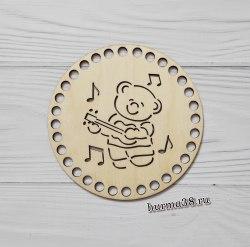 """Крышка для корзин круг """"Мишка с гитарой"""" 15 см."""