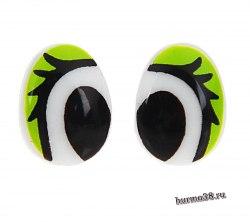 Глазки для игрушек на безопасном креплении цвет зеленый 2 шт. 1,3*1 см арт. 1553412