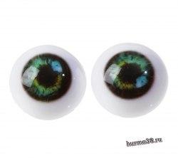 Глазки для игрушек на безопасном креплении 2 шт. цвет зелёный 2.4 см. арт.4380023