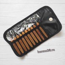 Набор крючков для вязания с деревянной ручкой в органайзере (12шт) №0,75-3