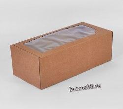 Коробка подарочная с окошком крафт 16 х 35 х 12 см