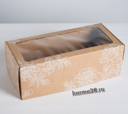 "Коробка подарочная с окошком ""Цветы"" 16 х 35 х 12 см"