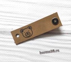 Кожаная бирка с кнопкой «Мишка» 1,6х6см цвет капучино