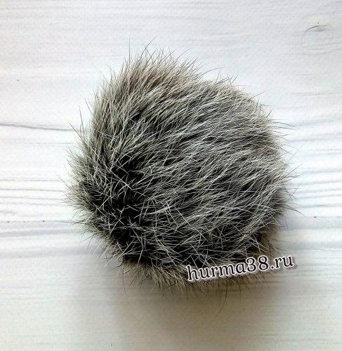Помпон из кролика (8-10 см) цвет дымчатый