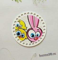 """Цветное донышко/крышка для корзин круг """"Bunny"""" 15 см."""