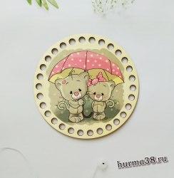 """Цветное донышко/крышка для корзин круг """"Мишки под зонтиком"""" 15 см."""