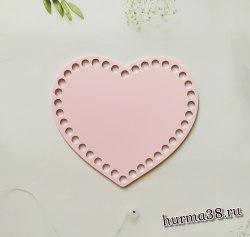 """Цветное донышко/крышка для корзин """"Розовое сердце"""" 17*14 см."""