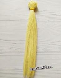 Волосы (трессы) кукольные прямые 25см цвет пшеничный блонд
