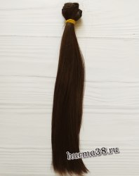 Волосы (трессы) кукольные прямые 25см цвет тёмно-каштановый