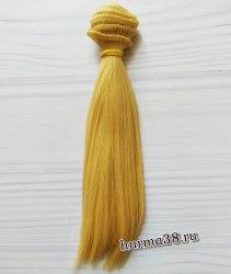 Волосы (трессы) кукольные прямые 15см цвет медовый