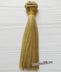Волосы (трессы) кукольные прямые 15см цвет пепельный блонд