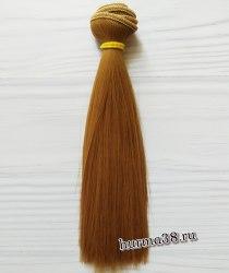 Волосы (трессы) кукольные прямые 15см цвет золотисто-русый