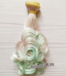 Волосы (трессы) кукольные с завитками 15см мятно-розовый омбре