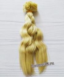 Волосы (трессы) кукольные волнистые 15см цвет пепельно-золотистый блонд
