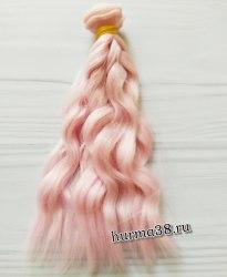 Волосы (трессы) кукольные волнистые 15см цвет розовый