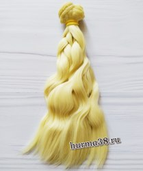 Волосы (трессы) кукольные волнистые 15см цвет пшеничный блонд