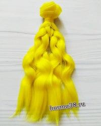 Волосы (трессы) кукольные волнистые 15см цвет жёлтый