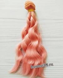 Волосы (трессы) кукольные волнистые 15см цвет розовый персик